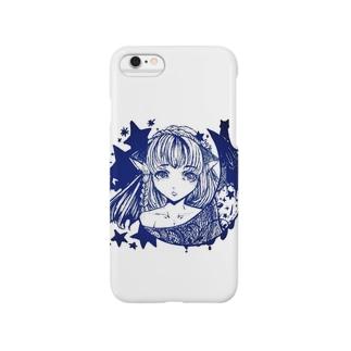 三日月猫娘 紺 Smartphone cases
