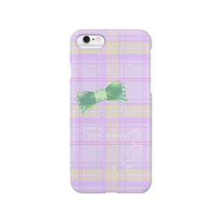 ラベンダーチェック(英文入り) Smartphone cases