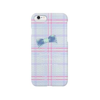 青チェック(英文入り) Smartphone cases