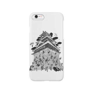 OW STOREの熊本城武者返し イラストカラー:ブラック Smartphone cases