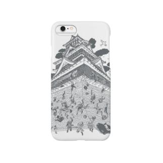 熊本城武者返し イラストカラー:グレー Smartphone cases