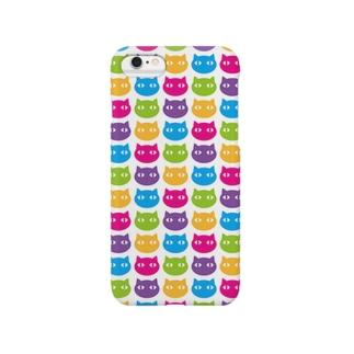 カラフルネコ模様:白 Smartphone cases