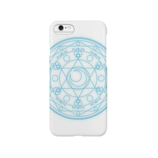 魔法陣〜水色〜 Smartphone cases