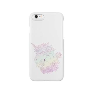 ユニコーンと花③ Smartphone cases