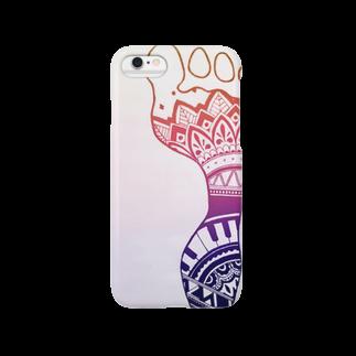 ひなせの手描き ヘナタトゥー風足跡(レインボー) Smartphone cases