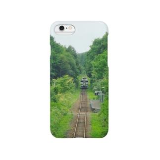 夏の単線 in北海道 Smartphone cases