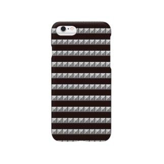 ピラミッドスタッズ ボーダー黒 Smartphone cases