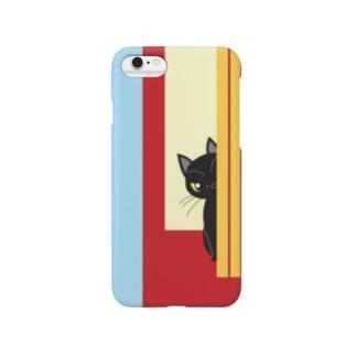 チラッと黒猫 スマートフォンケース