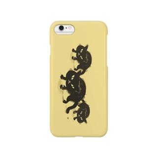 黒猫ちゃん(黄色バック) Smartphone cases
