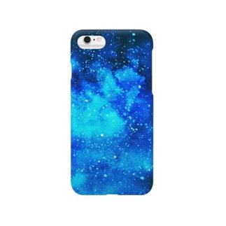 青の水彩画 Smartphone cases