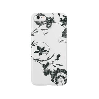 夏の草花(ブラック) Smartphone cases