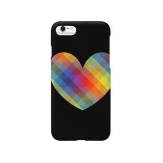 虹×ハート×虹(ブラック) Smartphone Case