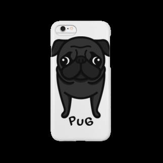 黒パグ。 スマートフォンケース