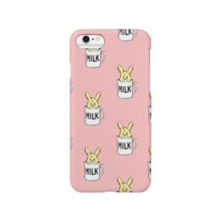 カップ入りウサギちゃん【ピンク】 Smartphone cases