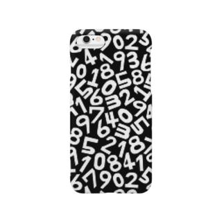 モノクロ数字パターン Smartphone cases