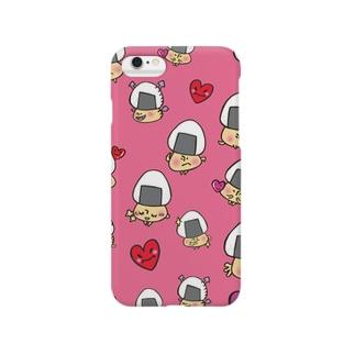 おむすびきのこさん(濃い目ピンク)スマートフォンケース スマートフォンケース