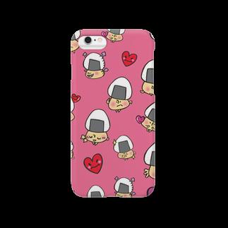イラストレーター yasijunのおむすびきのこさん(濃い目ピンク)スマートフォンケース Smartphone cases