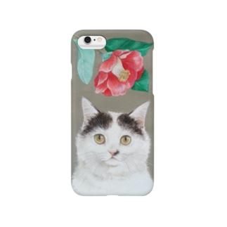 椿と猫 スマートフォンケース