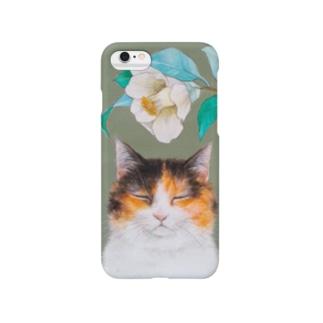 椿と三毛猫 スマートフォンケース