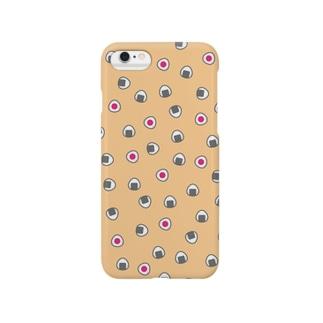 おむすびころころ(サーモンピンク)スマートフォンケース Smartphone cases