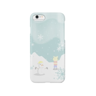 ピグマと雪だるま スマートフォンケース