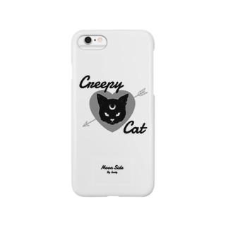MOON SIDE】 Creepy Cat #White スマートフォンケース