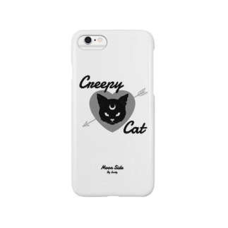 MOON SIDE】 Creepy Cat #White Smartphone cases