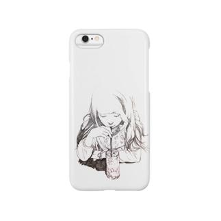 喫茶店の女の子ケース Smartphone cases