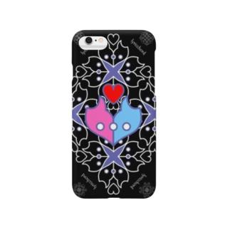 浪漫花-ROMANKA-/ブラック/スマホケース Smartphone cases