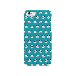 パンダぎっしり《ブルーグリーン》 Smartphone cases