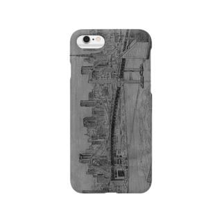 iPhoneケース レインボーブリッジ(鉛筆画) Smartphone cases