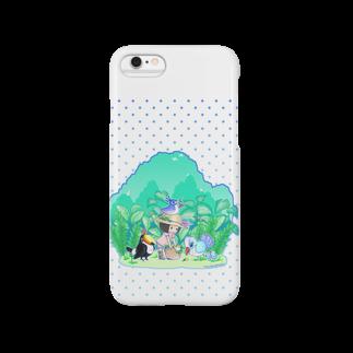 柚子屋の植物と鳥と女の子・スマホケース Smartphone cases