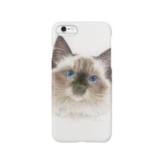 青色の瞳の猫 〜ラグドール〜 Smartphone cases