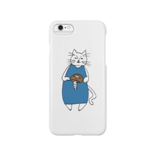巻きしいたけ柄マキシ丈ワンピを着た猫 Smartphone cases