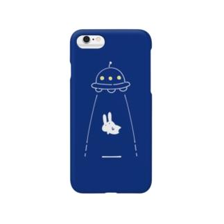UFOにつれてかれるうさぎ/青 Smartphone cases