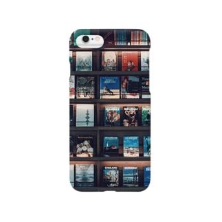 bookshelf. Smartphone cases