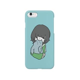 ねこのうしろあたまをかぐおんなのこ Smartphone cases