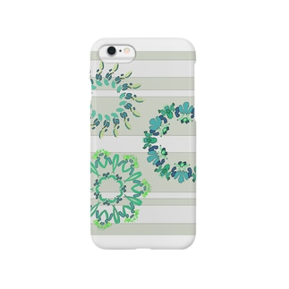 フラワーリース【ミントブルー】 Smartphone cases