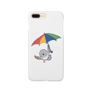 傘を使って飛ぶ鳩 Smartphone cases