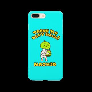 nashio20thのミニマム梨男スマホケース【BLUE】 Smartphone cases