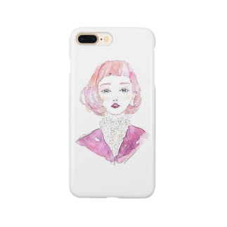 pink  ボブヘア Smartphone cases