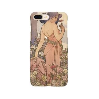 四つの花-カーネーション ミュシャ Smartphone cases