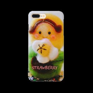 strawberry(小さな雑貨屋さん)の羊毛マスコットのマトリョーシカ『チューリップ🌷ちゃん』 Smartphone cases