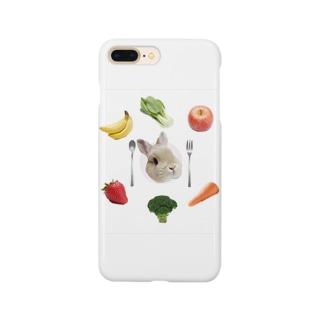 うさぎのご馳走プレート Smartphone cases