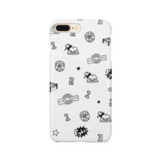 プロレスパターン(モノクロ) Smartphone cases