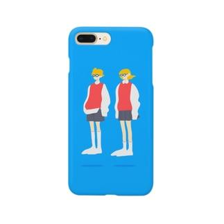 メガネの男の子と女の子 Smartphone cases