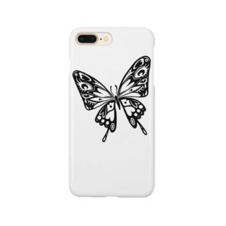 極楽蝶(黒) Smartphone cases