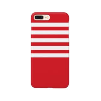 例のボーダー(赤) Smartphone cases