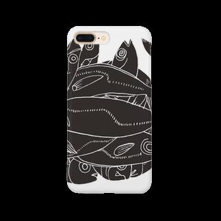 megumiillustrationのAJI Black Smartphone cases