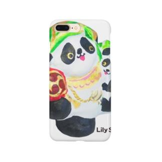 招福あっぱれ大黒パンダ親子 Smartphone cases